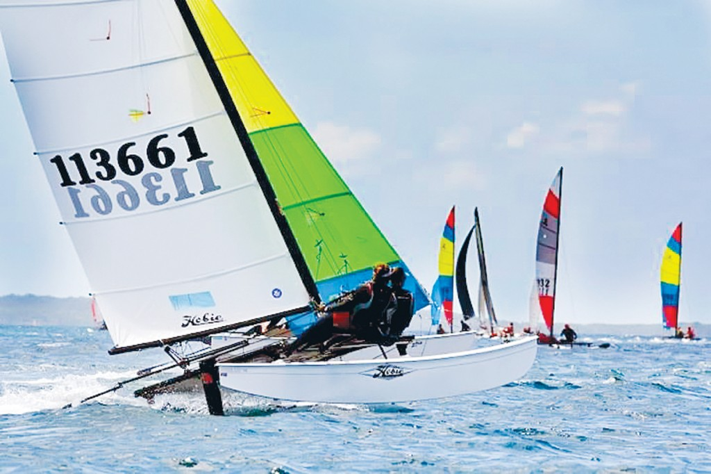 Michelle Bursa and Chelsea Haynes push their Hobie 16 catamaran Vitamin Sea to the limit on Western Port. The pair is off to the youth world championships in Portugal mid-year.