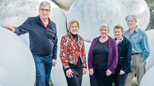 Station planners: The Frankston Community Coalition's (from left) Peter Patterson, Christine Richards, Jenny Hattingh, Trudy Poole and Trevor Knock have a plan to sculpt Frankston station's surrounds. Sixth member Ken Rowe not pictured. Picture: Gary Sissons