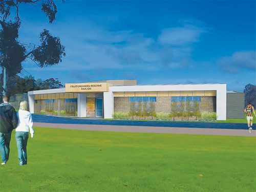 Home ground advantage: An artist's impression of the entry to the new sports pavilion to be constructed at Fruitgrowers Reserve in Somerville. Work will begin in August and is due to be completed by May 2015.
