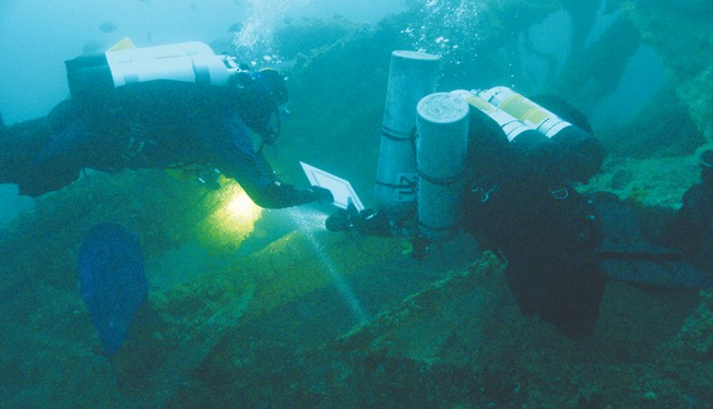 Challenging mission: Southern Ocean Exploration divers probe the murky depths of Port Phillip.