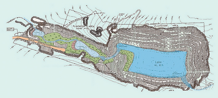 Future perfect: An artist's impression of  how the old Pioneer quarry could look after rehabilitation, a condition of the 1998 quarry permit. Sheepwash Creek would be restored to its original location at the bottom right-hand corner of the pit.