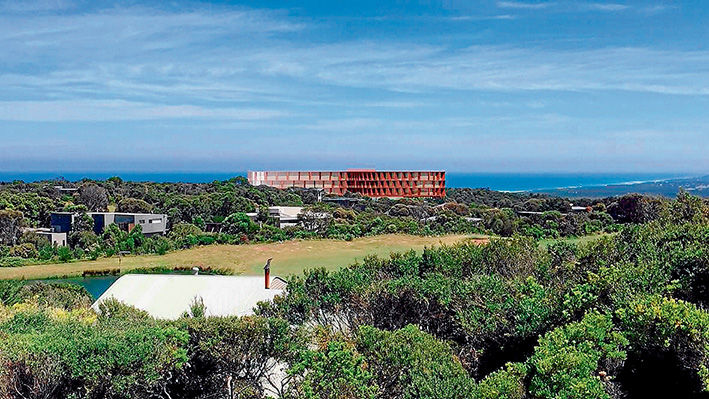 Progress: Artist's impression of how the RACV resort could look from one of the existing homes in the Cape Schanck estate.
