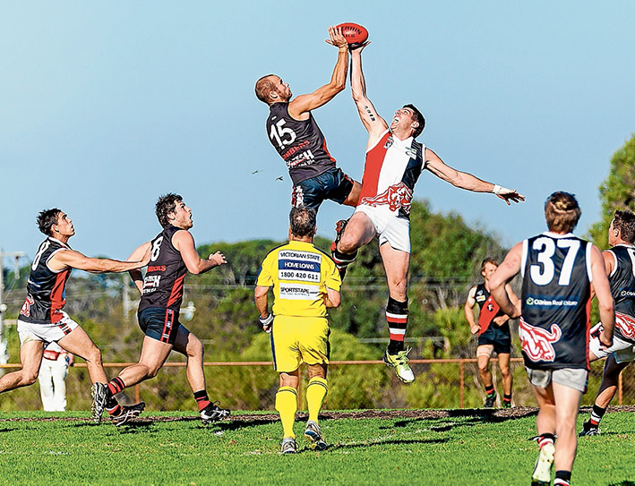 Flying high: Frankston Bombers easily accounted for Devon Meadows by 46 points. Picture: Andrew Hurst