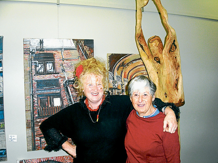 Creative outlet: Sculptor Jean Sheridan, left, and painter Ann-Heather White at Red Artists Gallery.