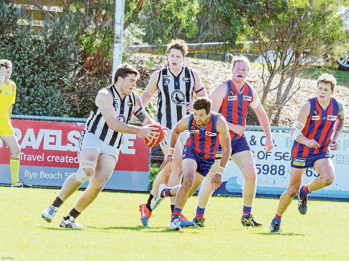 No luck for reserves: Despite leading at quarter time, Crib Point's reserves ended up going down by 46 points.  Picture: Barb Ross
