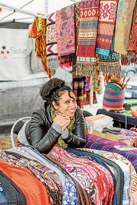 Ana Maria runs a colourful stall at Mornington's Wednesday market under the auspices of SisterWorks.