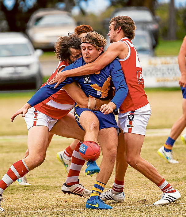 Tight tussles: Somerville held on to beat Sorrento. Picture: Andrew Hurst