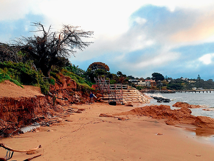Beach bummer: Windy weather and rough seas last week saw even more erosion of Portsea's once beautiful front beach. Pictures: Josh Clark/Dive Victoria