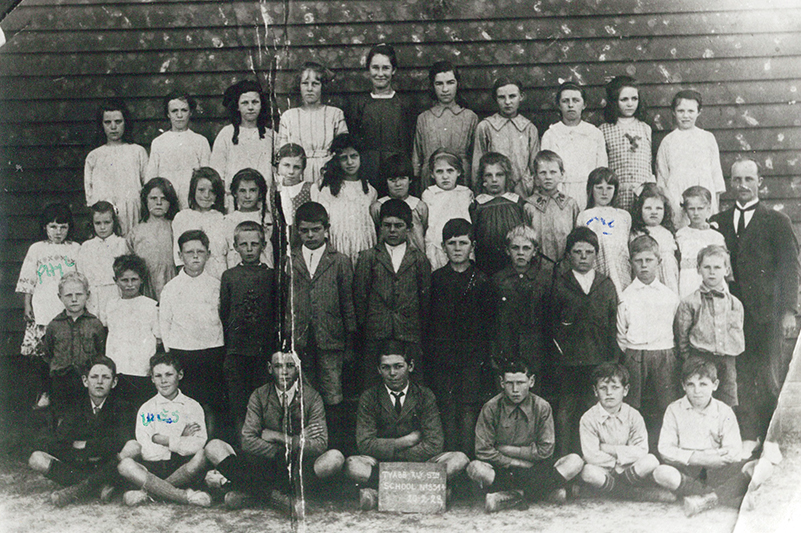Tyabb Railway Station State School. Wes Clarke second from left, front row. Phyllis first on left, third row. Eileen, third from right, third row.