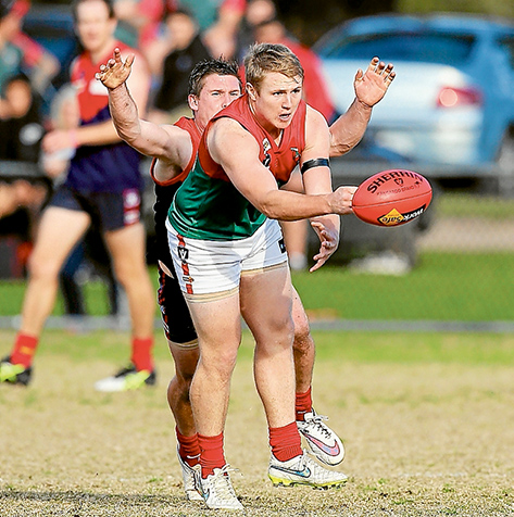 Close call: Pines managed a seven point win over Mount Eliza. Picture: Gary Bradshaw