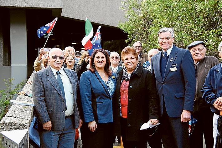 Viva L'Italia: Lorenzo D'Alia, Cr Antonella Celi, Rye Italian Citizens' Club's Antonina Fazio, and Cr David Gibb, raised a flag to celebrate the 69thFesta della Repubblica.