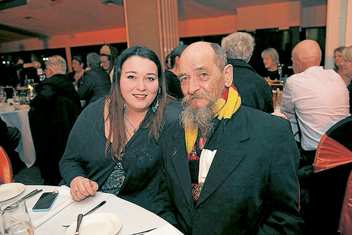 Night out: Artist of the year Bob Kelly is pictured enjoying the ball with his daughter, Jacinta. Picture: Lucy Deitz