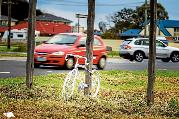 """Loving memory: A """"ghost"""" bike has been erected as a tribute to Mt Martha cyclist Joel Hawkins. Picture: Yanni"""