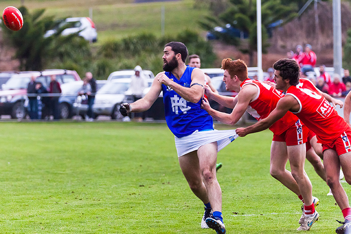 The long and the short of it: Sorrento got a grip on proceedings against Hastings to run out 18.7 (115) to 11.10 (76) winners. Picture: Andrew Hurst
