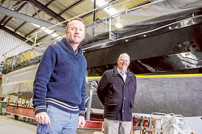 On water matters: Mal Hart of Mornington-based boat-builder Hart Marine, left, and Shane Murphy, new executive officer of Mornington Peninsula Marine Alliance. Picture: Cameron McCullough