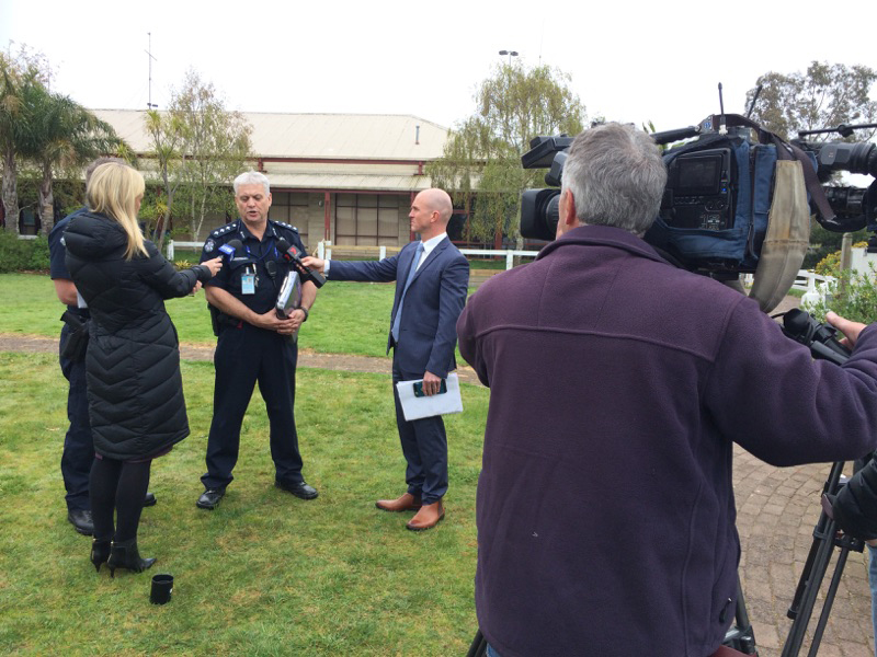 Boating accident: Police speak to waiting media after the overnight drowning. Picture: Gary Sissons