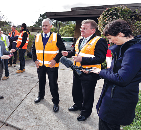 Highly visible: Prime Minister Malcolm Turnbull, left, and retiring Dunkley Liberal MP Bruce Billson in Langwarrin last year. Picture: Yanni