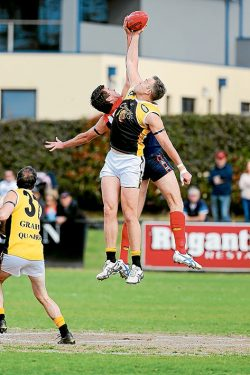 Up and about: Frankston YCW posted a 22-point win over Mt Eliza to book a spot in the Peninsula League Grand Final. Mt Eliza will now play Mornington in the Preliminary Final. Picture: Gary Bradshaw