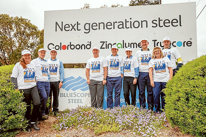 Up for challenge: The BlueScope team is ready for this year's Arthurs Seat Challenge. Picture: Yanni