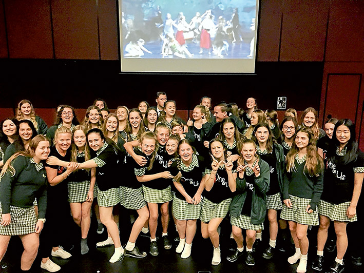Getting in the act: Rosebud Secondary College students celebrate after hearing about their Wakakirri Challenge win.