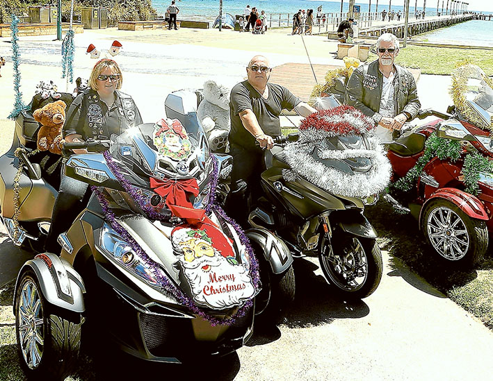 Decoration day: Riders at last year's Peninsula Toy Run show off their machines in the Frankston pier car park. Picture supplied