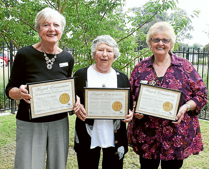 In for the long haul: Mollie Warren, Nanette Cuming and Margaret Mildern are the rock on which to build a community service.