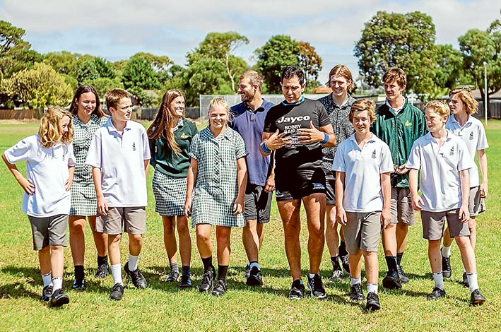 BOBBY Bajram may have multiple sclerosis, but it's no barrier when it comes to him setting his sights and scaling heights. Last week he was telling students at Rosebud Secondary College about his attitude to life, which reflected his determination to not be deterred by any disease. Picture: Yanni