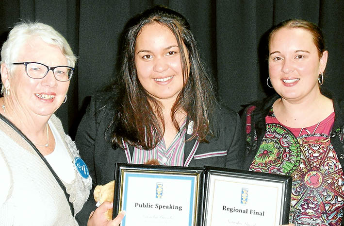 Winner's smile: Youth of the year chairperson Pam Newman, Ikeylia Cowan, and her mother Theresa.