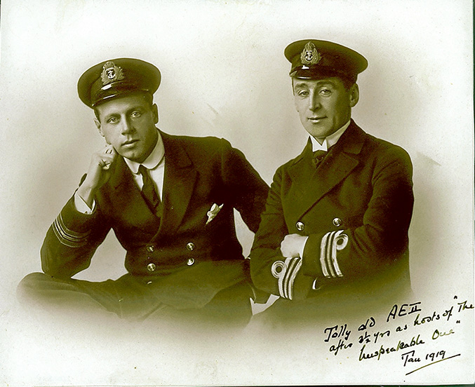 The AE2 senior officers Lt Geoffrey and Lt Comm Dacre Stoker, taken in 1919 after three and a half years as prisoners of war.