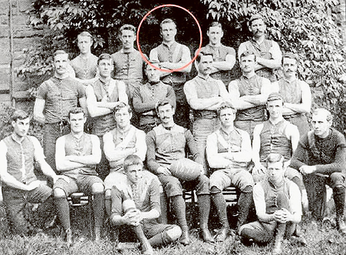 Pompey (circled) as a member of Ormond College football team.