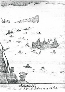 The sinking of the AE2. A sketch by Leading Signalman Thomson.