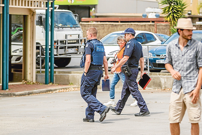 Blue line: Police are often called to the office of Flinders MP Greg Hunt during protests including a protest against the Adani coal mine approval late last year. Picture: Yanni
