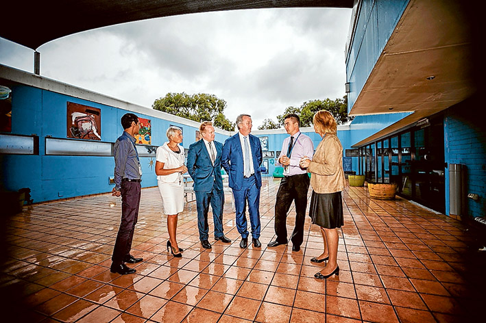 Unit upgrade: Professor Dhiren Singh, Sharon Sherwood, Paul Edbrooke, Martin Foley, Liam Shaw and Sue Williams at the announcement of an upgrade for Frankston Hospital's adult mental health unit. Picture: Yanni