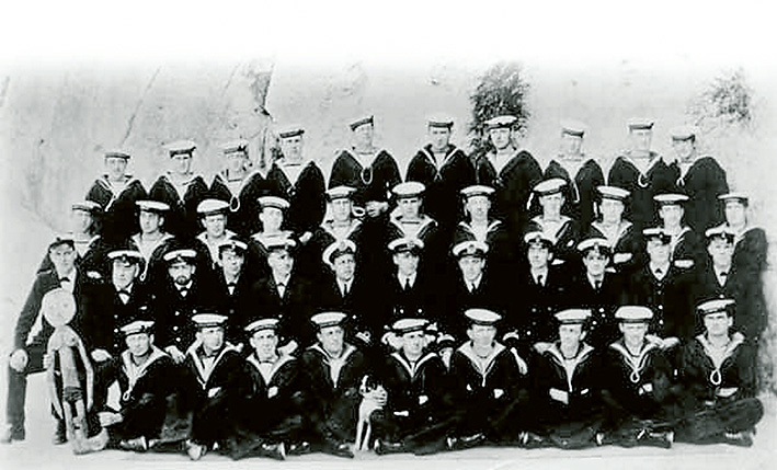 The AE2 crew in Malta in 1915, Leading Signalman Thomson is in the front row, far right.