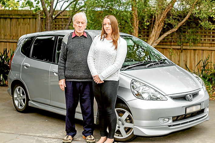 Hit and run: Geoff Greene, pictured with grand daughter Kirsten Baker, is lucky to be here after being struck from behind by an out-of-control vehicle. Picture: Yanni