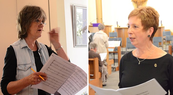 Composer Lorraine Milne (left) and Conductor Margaret Brown