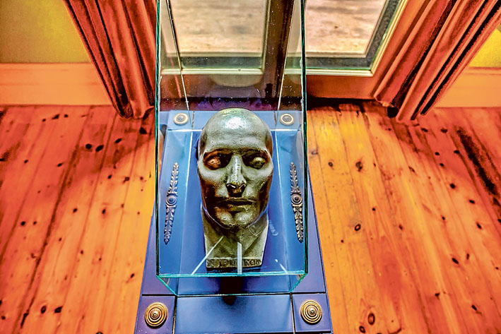 Emperor's return: Napoleon's death mask, above, and other memorabilia are making a comeback at The Briars, Mt Martha, thanks to increased security at the homestead. Pictures: Yanni