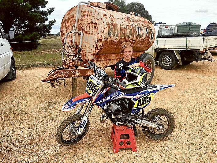 Eyes on the prize: Red Hill South's Ty Sharp before the junior motocross championships at Ararat over the weekend.