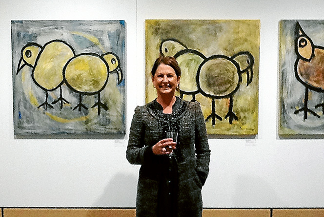 Feathered friends: Teacher and artist Janine Everett with some of her works at Mornington's new art gallery.