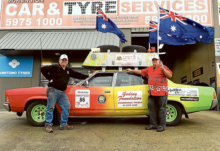 Ready to roll: Variety Club Big Bash competitors John Mackie, left, and John Crossin, prepare for another eventful journey in their Car 86.