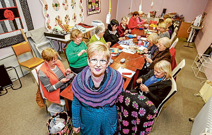 Stitch in time: Lynda Sibbald caters for a steady stream of dedicated knitters and patch workers at her Mornington craft business. Picture: Yanni