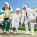 Away we go: Mornington Bowling Club president Ray Metherell, left, with guests of honour Vera Cornwell and Jack Missen at Thursday's season opener. Picture: Yanni
