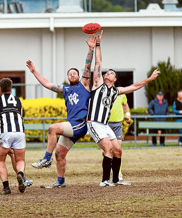 Blues throw Pies: The end of the season can't come quickly enough for Crib Point after once again racking up a loss, this time by 102 points at the hands of Hastings. Picture: Andrew Hurst