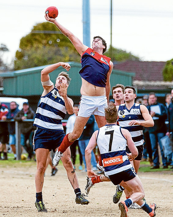 Reaching new heights: Mt Eliza gave Seaford a bad day, dispatching them by 86 points. Picture: Andrew Hurst
