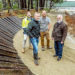 Bikers' delight: Design engineer Tom Haines-Sutherland, Red Hill Riders Mark Gardner and Rhys Dowsett, and Cr Tim Wood, at the new bike park. Picture: Yanni