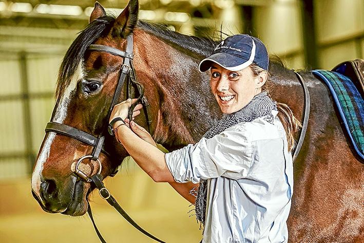 School's in: Horse trainer Lara Poynton and her brumby VBA Sansa in training for the Australian Brumby Challenge.