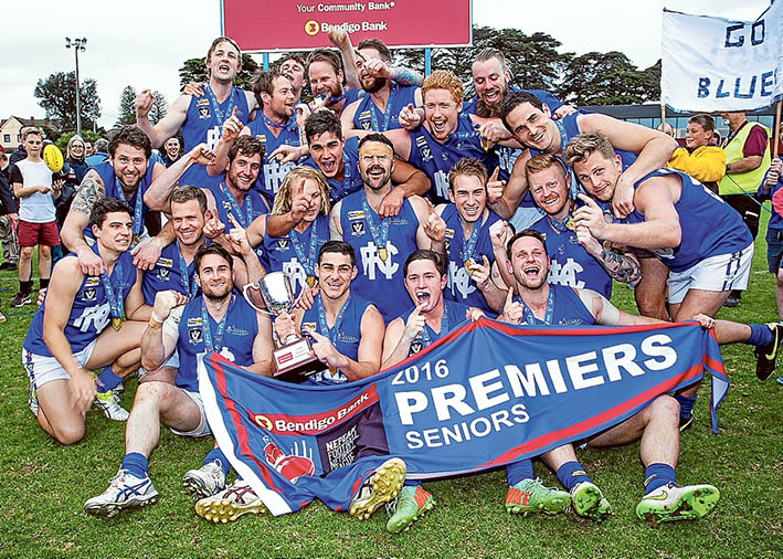 Winners are grinners: Hastings claimed the big prize by downing Frankston Bombers in the 2016 Nepean League Grand Final on Saturday. Pictures: Andrew Hurst