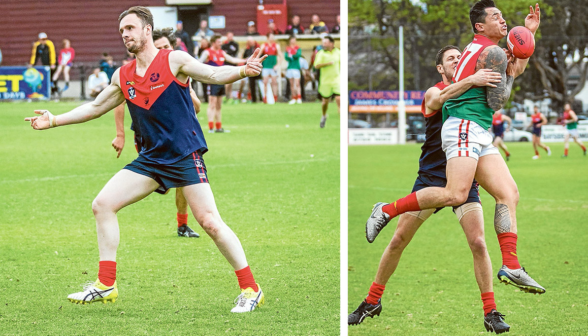 Final bound: Mt Eliza smashed Pines in Sunday's Preliminary Final and will meet Frankston YCW in the Peninsula League Grand Final. Pictures: Andrew Hurst