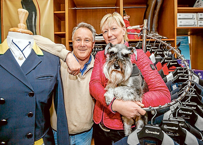 """Dressed to compete: Peter and Caroline Wagner with """"Little Pete"""". Their saddlery business outfitted the Australian equestrian team at the Rio Olympics. Picture: Yanni"""