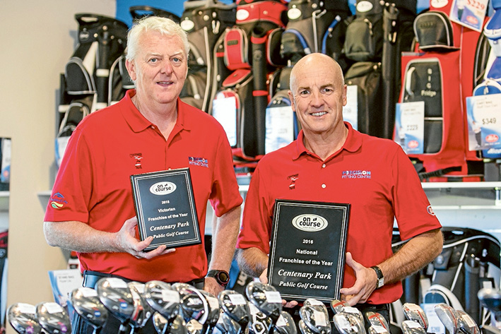 On par excellence: (l to r) Warren Young and Steve Montgomerie with their awards for Franchise of the year.